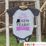 My First New Year Outfit - Personalized New Year's Eve Onepiece or Shirt - Baby's First Holiday with Name - Grey and Pink Baseball Tee - Get The Party Started