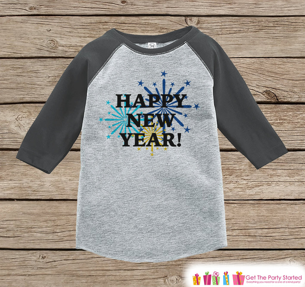 Happy New Year Outfit - New Years Eve Onepiece With Fireworks - 1st New Year Outfit for Baby Boys or Baby Girls - Grey Baseball Tee, Raglan - Get The Party Started