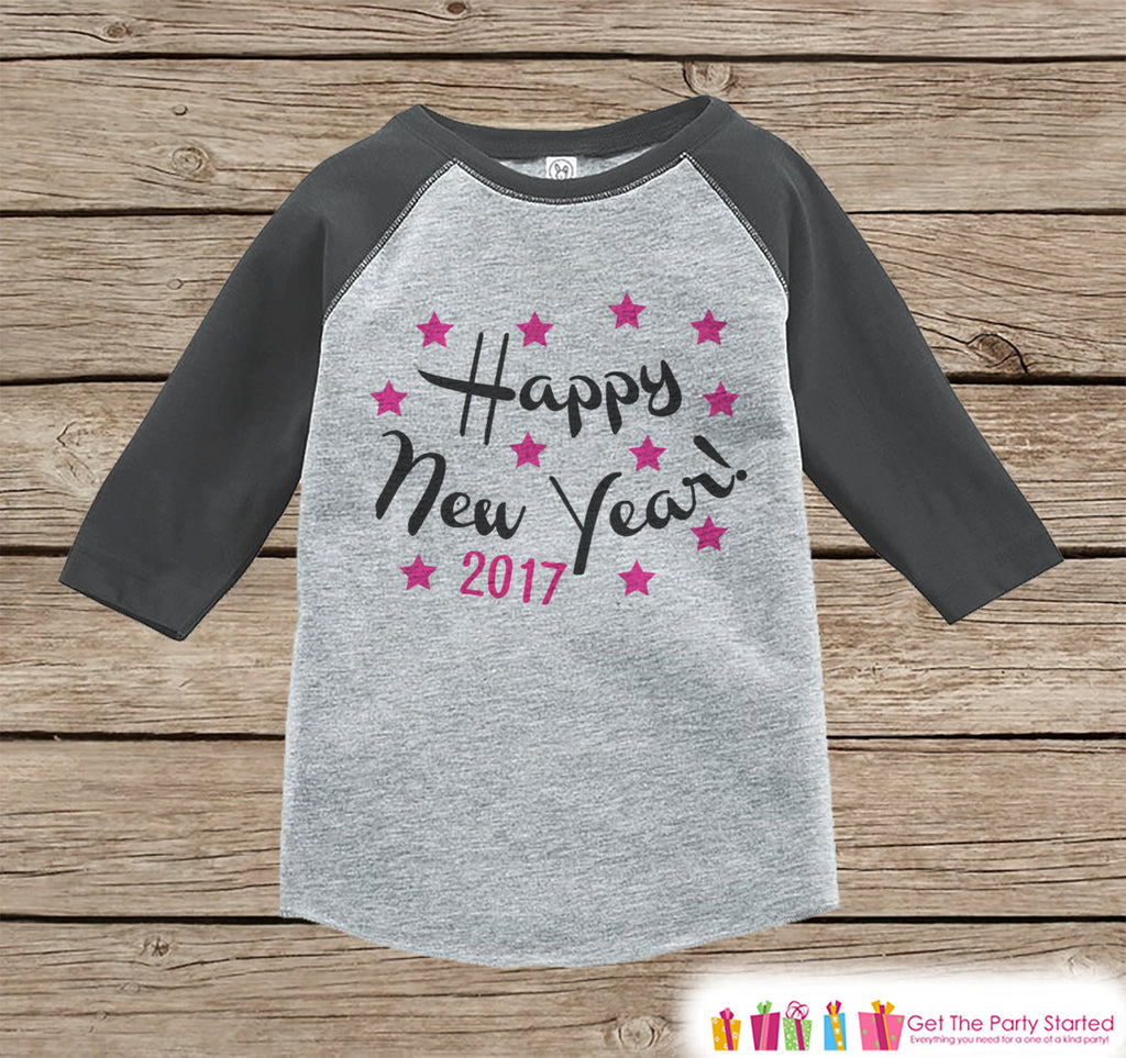 Happy New Year Outfit - 2017 New Year Shirt - New Years Eve Onepiece - New Years for Baby Boys or Baby Girls - Grey Baseball Tee, Raglan - Get The Party Started