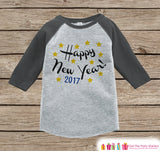 Happy New Year Shirt - 2017 New Year Outfit - New Years Eve Onepiece - New Years for Baby Boys or Baby Girls - Grey Baseball Tee, Raglan - Get The Party Started