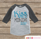 Kiss Me At Midnight - New Years 2017 - New Years Eve Onepiece or Shirt - 1st New Year Outfit for Baby Boys - Grey Baseball Tee - Grey Raglan - Get The Party Started