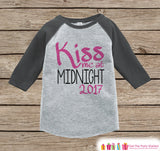 Kiss Me At Midnight - New Years 2017 - New Years Eve Onepiece, Shirt - 1st New Year Outfit for Baby Girls - Grey Baseball Tee - Grey Raglan - Get The Party Started