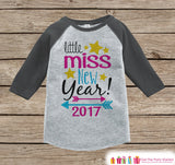 Little Miss New Year 2017 - New Years Eve Onepiece - Kids New Years Shirt - New Year Outfit for Baby Girls - Grey Baseball Tee - Grey Raglan - Get The Party Started