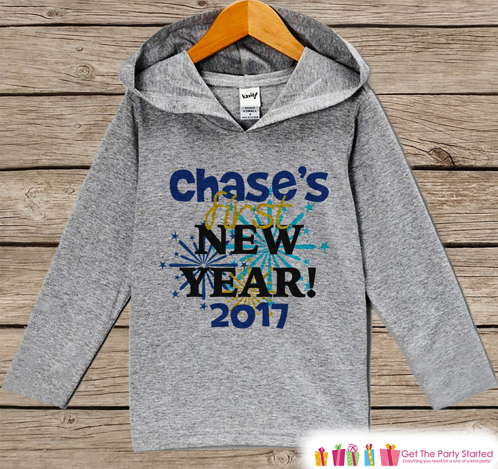 Custom New Years Outfit - New Years 2017 - Personalized Kid Pullover - Baby New Year's Outfit - Hoodie for Baby or Toddler - Grey Hoodie - Get The Party Started