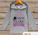 My First New Years Outfit - Pink New Years 2017 - Kids Pullover - Baby New Year's Outfit - Hoodie for Baby or Toddler - Grey Hoodie - Get The Party Started