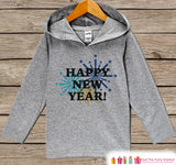 Happy New Years Outfit - New Years With Fireworks - Kids Pullover - Baby New Year's Outfit - Hoodie for Baby or Toddler - Grey Pullover - Get The Party Started