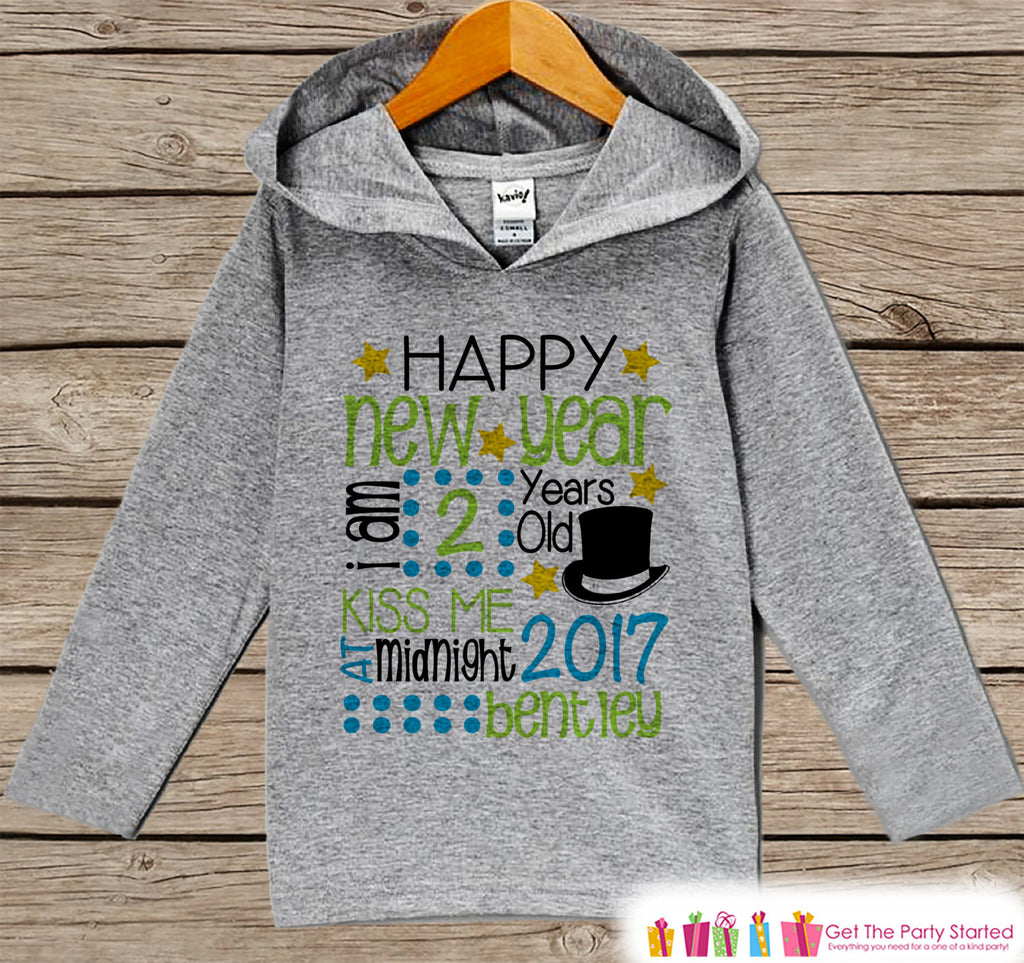 Happy New Year Outfit - Personalized New Years Pullover - New Year's Outfit For Baby Boys - Grey Hoodie for Toddler - New Year's 2017 - Get The Party Started