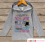 Happy New Year Outfit - Personalized New Years Pullover - New Year's Outfit For Baby Girls - Grey Hoodie for Toddler - New Year's 2017 - Get The Party Started