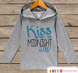 Kiss Me At Midnight - Kids New Years Eve Outfit - New Year's Outfit for Baby Boys or Girls - Hoodie for Baby or Toddler - Grey Pullover - Get The Party Started