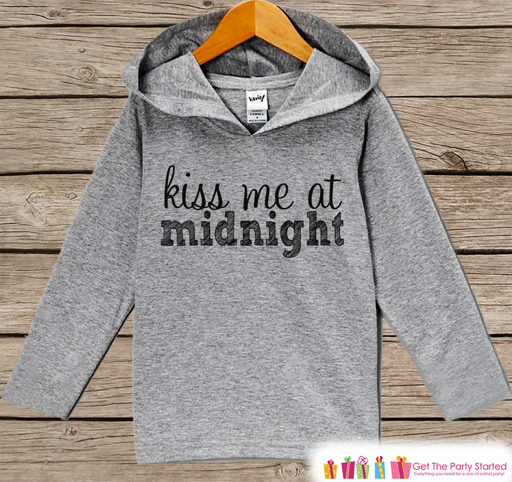 Kiss Me At Midnight - Kids Happy New Years Outfit - New Year's Outfit for Baby Boys or Girls - Hoodie for Baby or Toddler - Grey Pullover - Get The Party Started