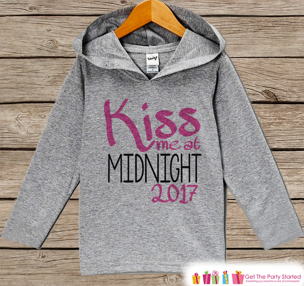 Kiss Me At Midnight - Kids Pink New Years Outfit - New Year's Eve Outfit for Baby Boys or Girls - Pullover for Baby or Toddler - Grey Hoodie - Get The Party Started