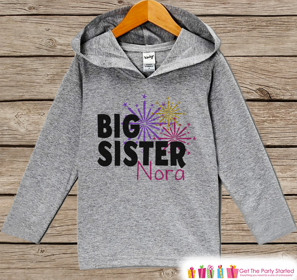Big Sister New Year Outfit - New Years Eve 2017 Fireworks- Grey Pullover for Girls - Baby or Toddler Hoodie - Grey Hoodie - Sibling Outfit