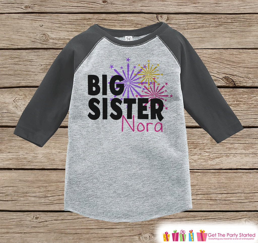 Big Sister Shirt or Onepiece - Sibling Outfits - Custom New Years Eve Outfit - Pregnancy Announcement - Sibling Reveal - Grey Baseball Tee - Get The Party Started