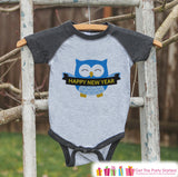 Owl New Years Outfit - New Years Eve Onepiece or Shirt - New Year Outfit for Baby or Toddler - Kids Grey Baseball Tee - Grey Raglan - Get The Party Started