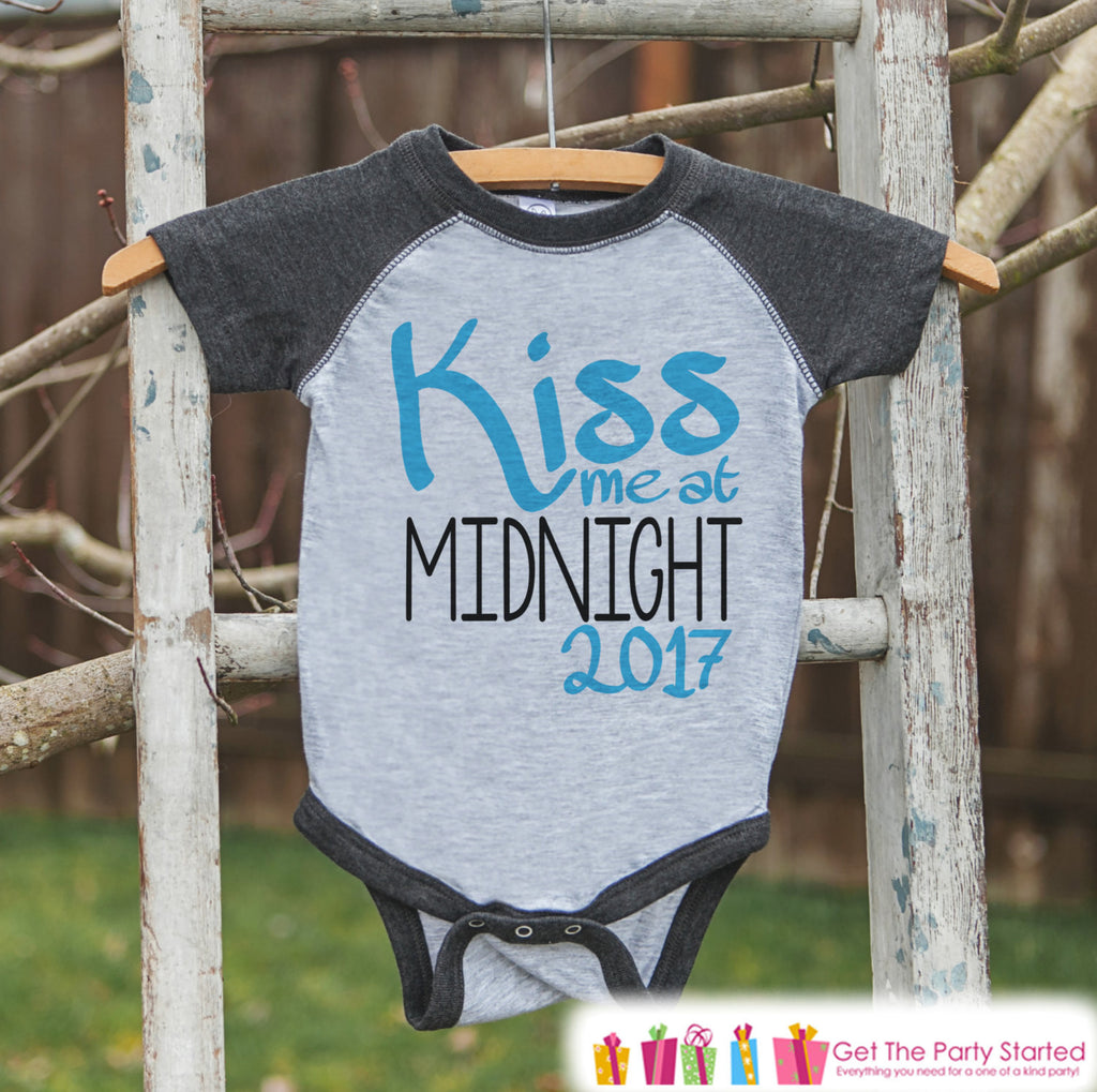 Kiss Me At Midnight - New Years Onepiece or Shirt - New Years Eve Outfit for Baby or Toddler Boys - Kids Grey Baseball Tee - Grey Raglan - Get The Party Started