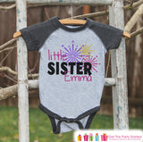 Little Sister Shirt or Onepiece - Sibling Outfits - New Years Shirt with Fireworks - Custom Outfit for Baby Girls - Kids Grey Baseball Tee