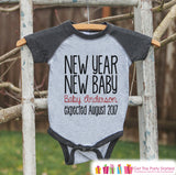 New Year New Baby Outfit - Custom New Years Eve Outfit - Pregnancy Announcement - Baby Reveal - Grey Baseball Tee - Kids Grey Raglan - Get The Party Started
