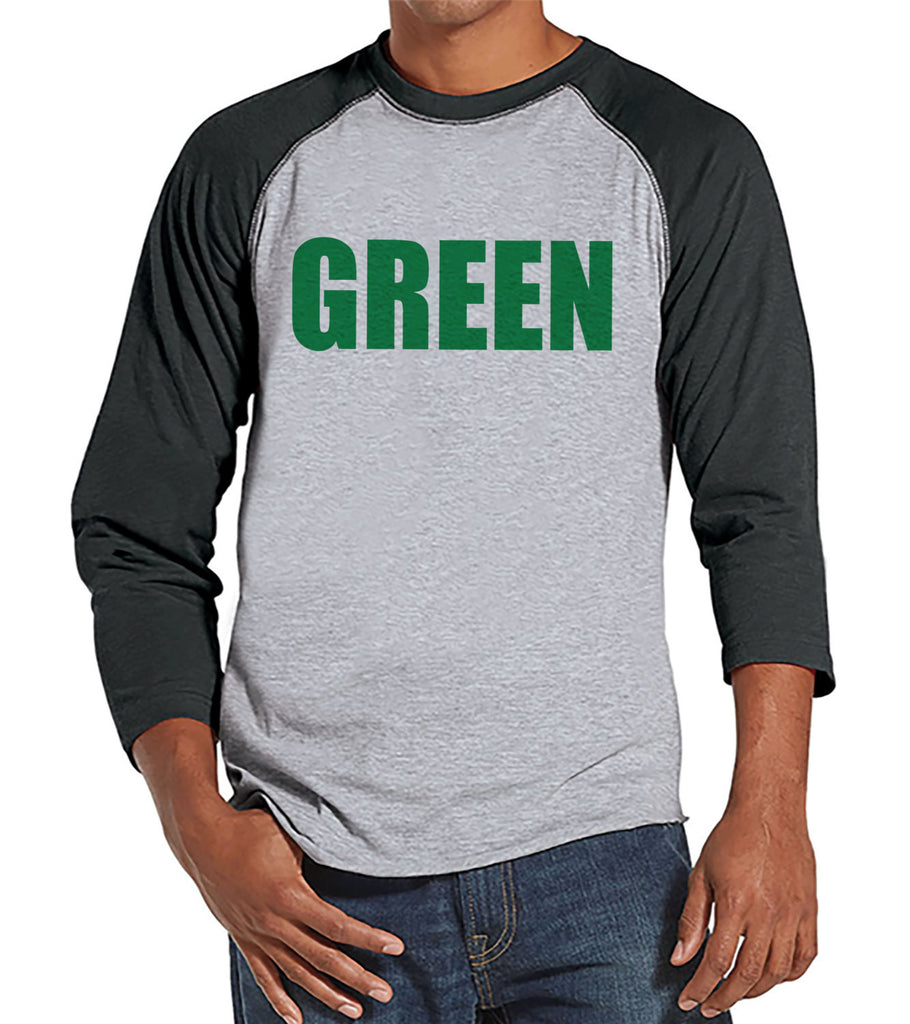Men's St. Patrick's Day Shirt - Funny Green St Patricks - Pinch Proof Shirt - Mens Grey Raglan Shirt - Mens Baseball Tee - Gift For Him - Get The Party Started