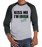 Men's St. Patrick's Day Shirt - Funny St Patricks Shirt - Kiss Me I'm Cute - Irish Pride - Mens Grey Raglan - Baseball Tee - Gift For Him - Get The Party Started