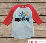 Little Brother Shirt or Onepiece - Sibling Outfits - New Years Shirt with Fireworks - Custom Outfit for Baby Boys - Kids Red Baseball Tee - Get The Party Started