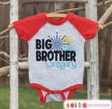 Big Brother Shirt or Onepiece - Sibling Outfits - New Years Shirt with Fireworks - Custom Outfit for Baby Boys - Kids Red Baseball Tee - Get The Party Started