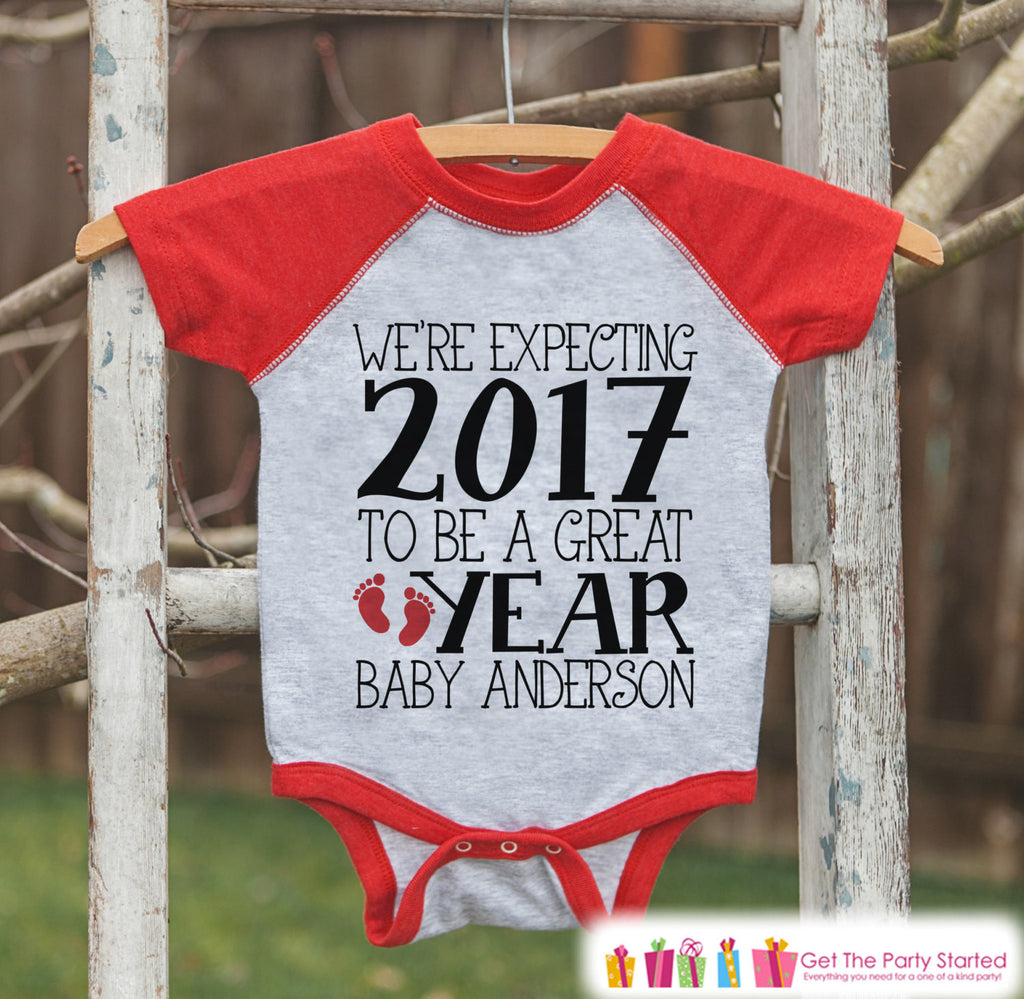 ccfa8d6606adf ... Reveal - Red Baseball Tee - Baby Feet. We're Expecting Onepiece -  Custom New Years Outfit for Boys or Girls - Pregnancy