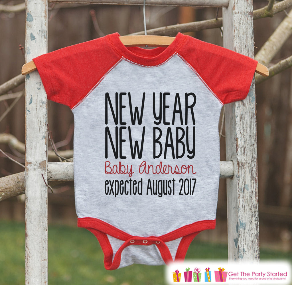 New Year New Baby Outfit - Custom New Years Eve Outfit - Pregnancy Announcement - Baby Reveal - Red Baseball Tee - Kids Red Raglan - Get The Party Started
