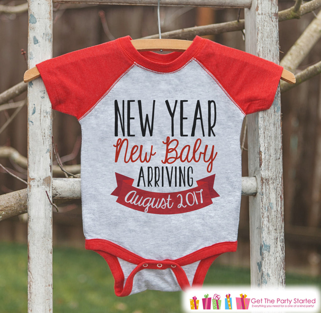 New Year New Baby Onepiece - Custom New Years Outfit for Baby - Pregnancy Announcement - Baby Reveal - Red Baseball Tee - Kids Red Raglan - Get The Party Started
