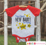 New Year New Baby Onepiece - Custom Outfit for Baby - New Years Shirt With Stars - Pregnancy Announcement - Baby Reveal - Red Baseball Tee - Get The Party Started