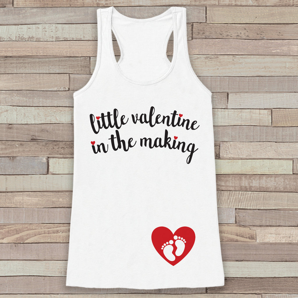 Valentine's Day Pregnancy Reveal Tank Top - Women's Pregnancy Announcement Shirt - Valentine In The Making - Reveal Shirt - White Tank