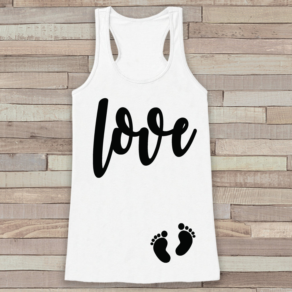 Valentine's Day Pregnancy Reveal Tank Top - Women's Pregnancy Announcement Shirt - Love Baby Feet Pregnancy Reveal Shirt - White Tank Top