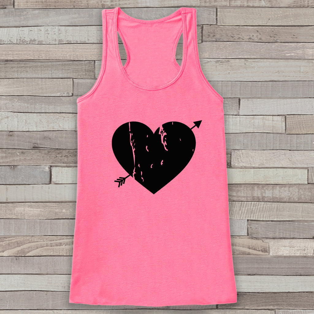 Womens Valentine Shirt - Cute Valentine's Day Tank Top - Women's Happy Valentine's Day Tank - Black Heart Valentines Shirt - Pink Tank Top - Get The Party Started