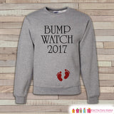 Bump Watch 2017 Sweatshirt - Adult New Year Crewneck - New Years Pregnancy - Pregnancy Sweatshirt - Baby Reveal - Pregnancy Announcement - Get The Party Started