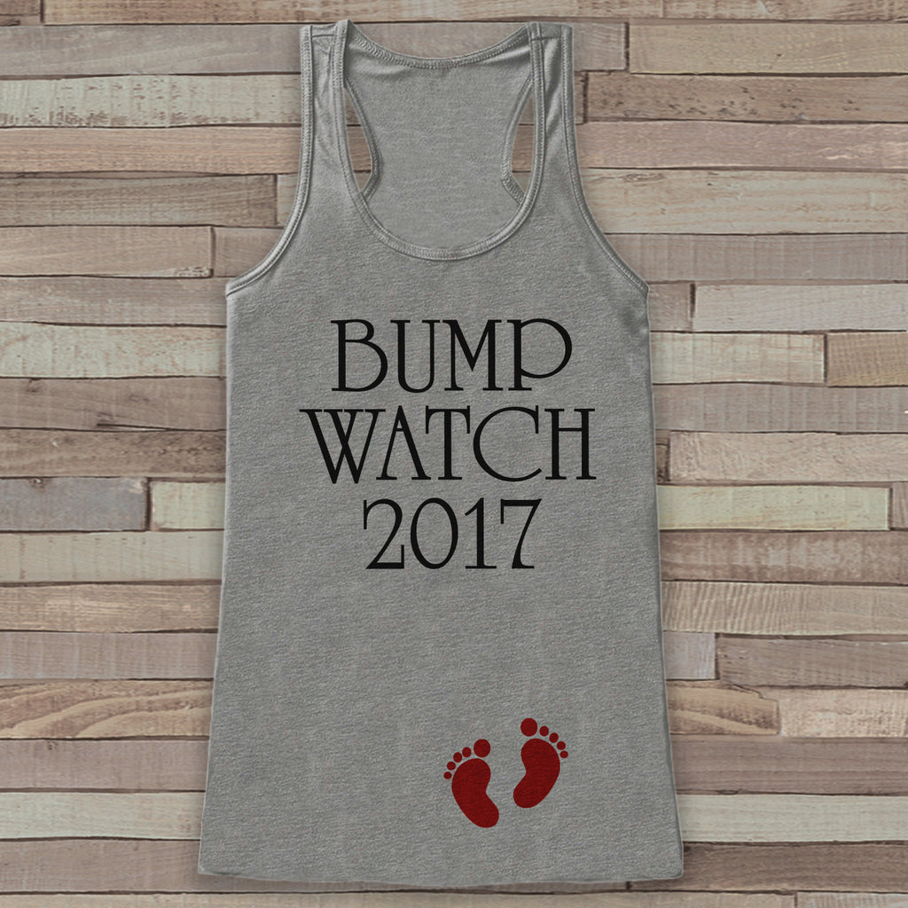Bump Watch 2017 Tank Top - Baby Feet Shirt - Womens Tank Top - Happy New Year Tank -  Grey Tank - Pregnancy Announcement - Baby Reveal Idea - Get The Party Started