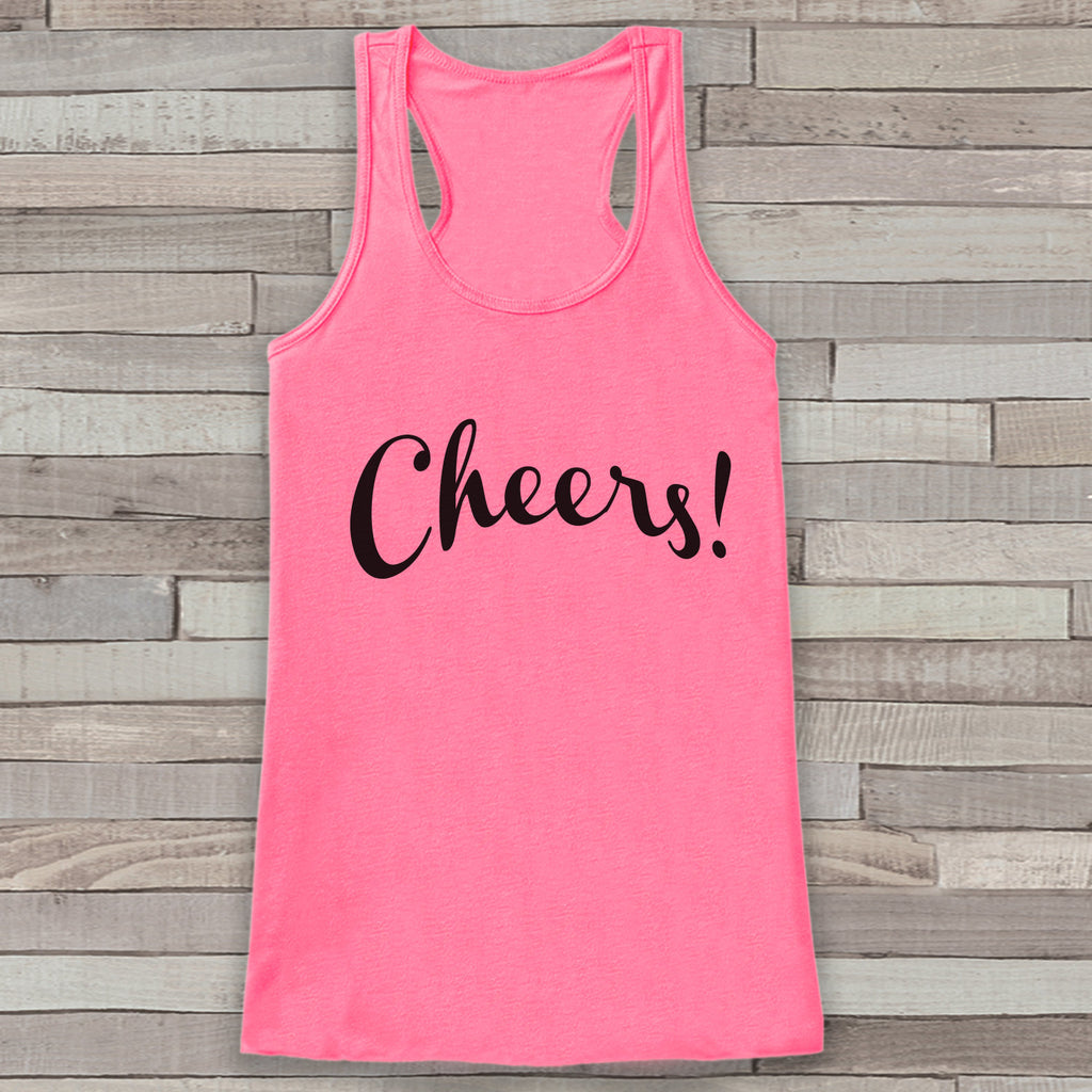 New Years Tank Top - Cheers! - Drinking Tank - Womens Tank Top - New Years Tank -  Pink Tank - Pink Tank Top - Funny New Years - Workout Top