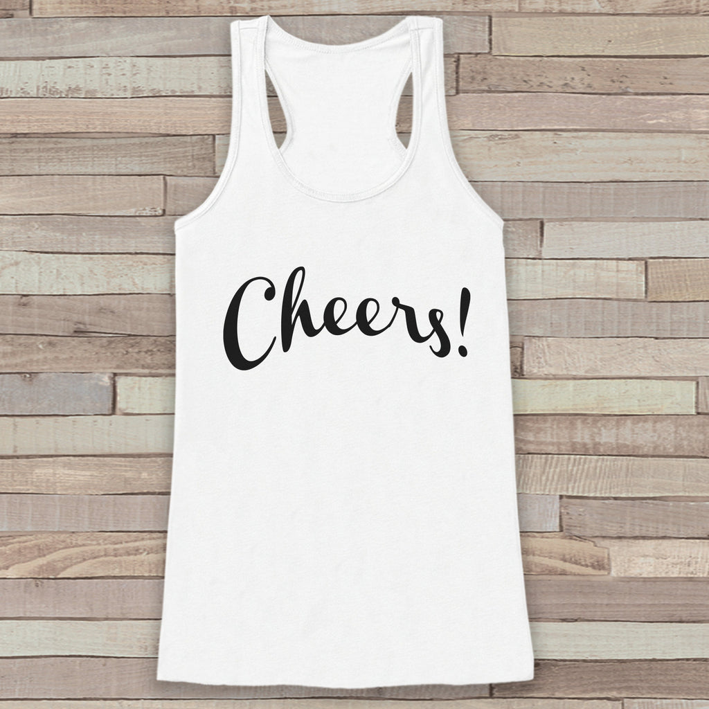 New Years Tank Top - Cheers! - Drinking Tank - Womens White Tank Top - New Years Tank -  White Tank Top - Funny New Years - Workout Top