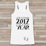 We're Expecting Tank Top - Baby Feet Shirt - Womens Tank Top - Happy New Year Tank -  White Tank - Pregnancy Announcement - Baby Reveal Idea - Get The Party Started