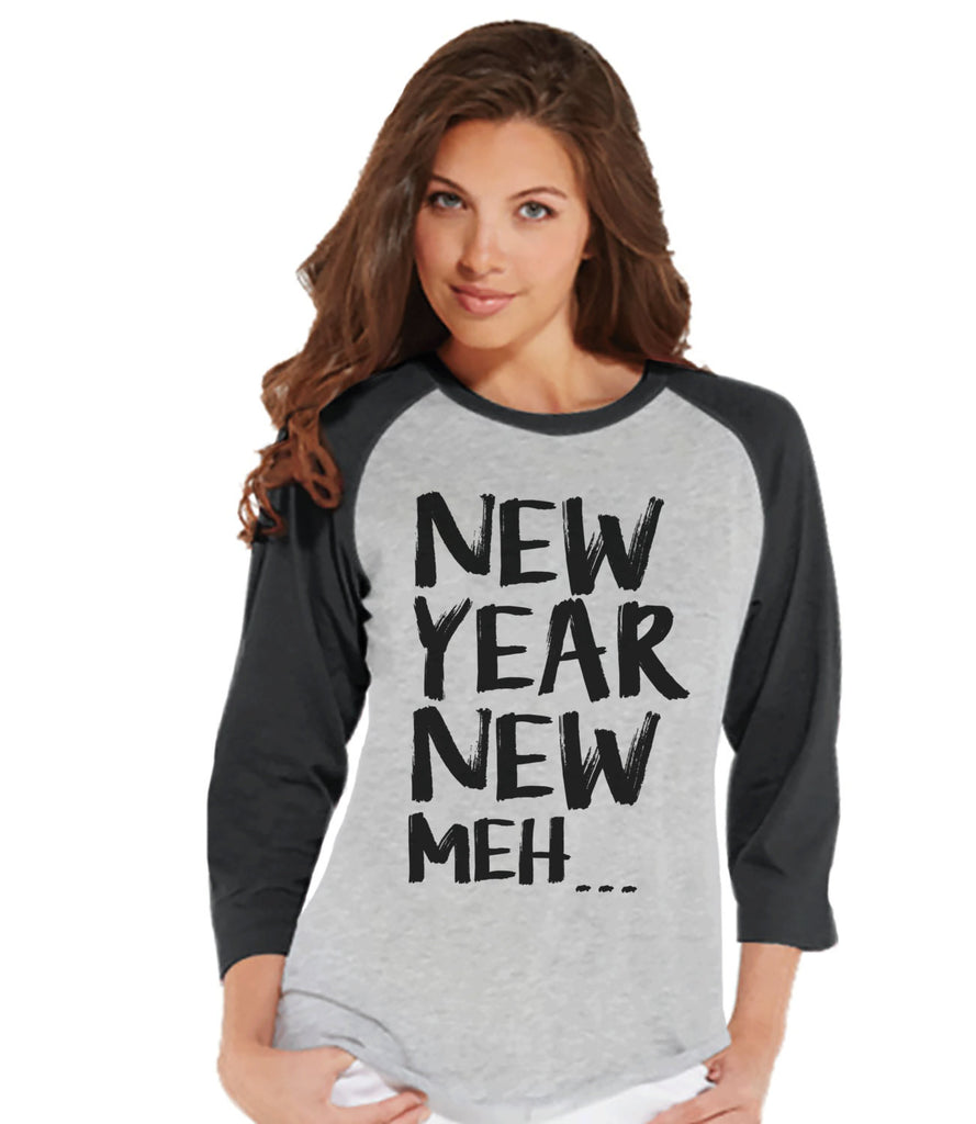 Funny New Years Shirt - Happy New Years Outfit - Womens Baseball Tee - Womens Shirt - Grey Raglan - Grey Baseball Tee - Womens Baseball Tee - Get The Party Started