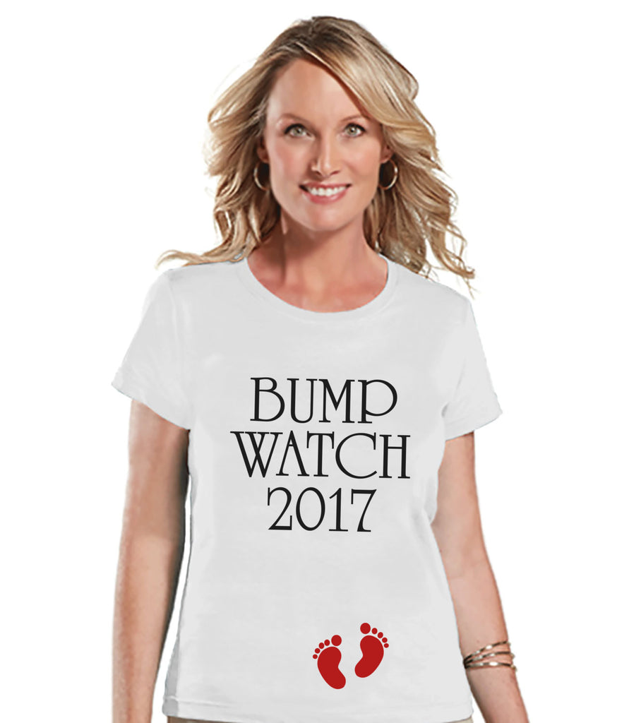 New Years Pregnancy Shirt - Bump Watch 2017 Shirt - New Years Tee - White T Shirt - White Tee - New Baby Reveal - Pregnancy Announcement - Get The Party Started