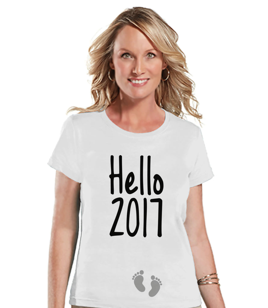 New Years Pregnancy Shirt - Hello 2017 Shirt - New Years Tee - Womens White T Shirt - White Tee - New Baby Reveal - Pregnancy Announcement - Get The Party Started