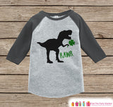 Boys St Patricks Day Outfit - Dinosaur St Paddy's Day Shirt or Onepiece - Boys Lucky Shirt - Baby, Toddler, Youth - Grey Dino Clover Shirt - Get The Party Started