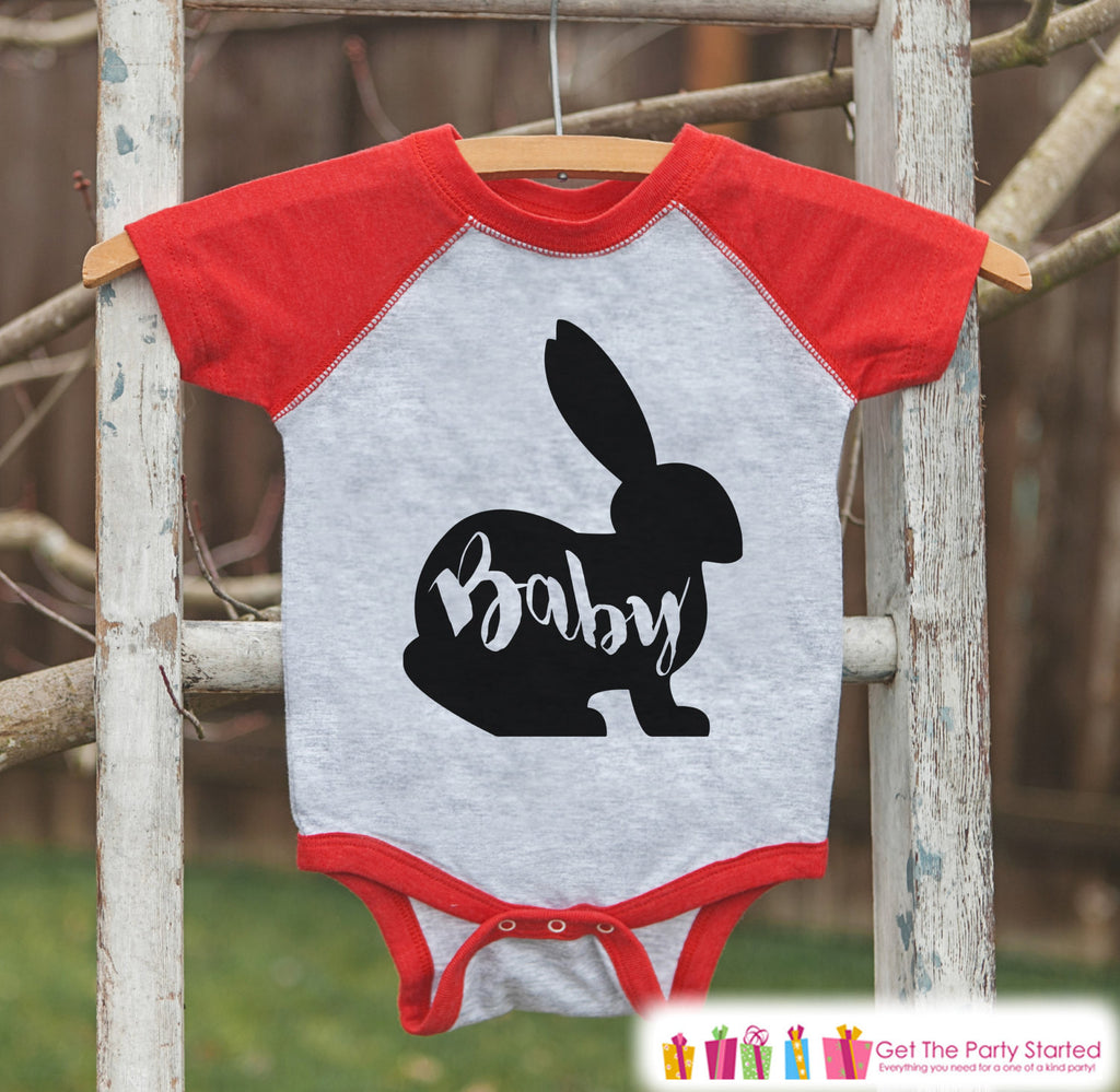 Kids Spring Outfit - Baby Bunny Shirt or Onepiece - Bunny Silhouette Family Shirts - Baby, Newborn, Infant - Easter Sibling Shirts - Red - Get The Party Started