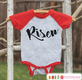 Kids Easter Outfit - Risen Shirt or Onepiece - Christ Religious Easter Shirts - Baby, Toddler, Youth - Boys Religious Easter Shirt - Red - Get The Party Started