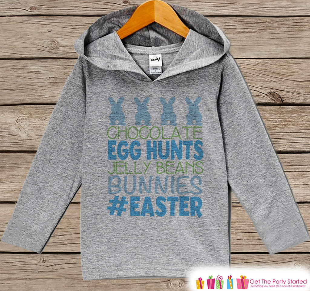 Boys Easter Outfit - #Easter Hoodie - Easter Bunny Spring Pullover - Baby Toddler Boys Easter Outfit - Easter Egg Hunt - Kids Grey Hoodie - Get The Party Started