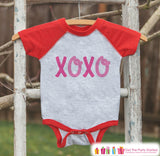 Kids Valentines Outfit - XOXO Valentine's Day Shirt or Onepiece - Girl's Valentine Shirt - Baby, Toddler, Youth Valentines Day Outfit - Get The Party Started