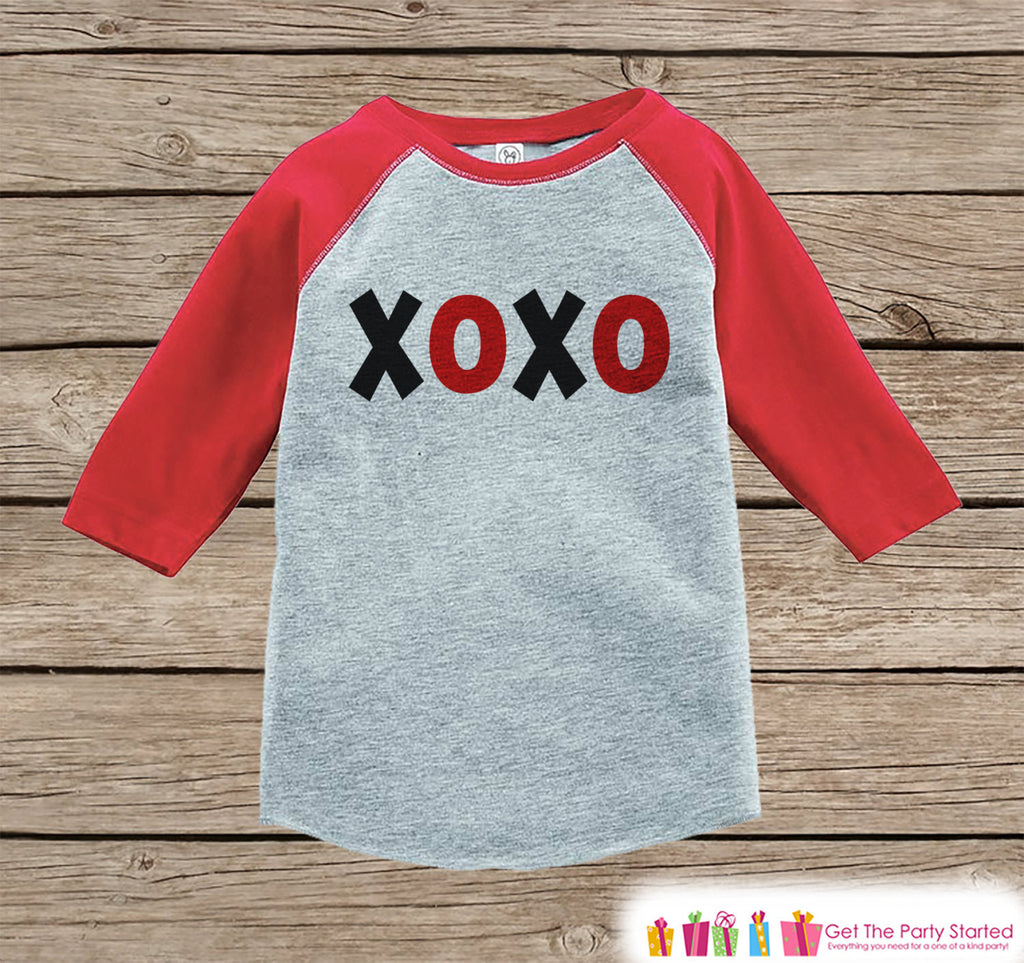Kids Valentines Outfit - XOXO Valentine's Day Shirt or Onepiece - Valentine's Shirt for Boy or Girl - Baby Toddler Youth - Red & Black Top - Get The Party Started