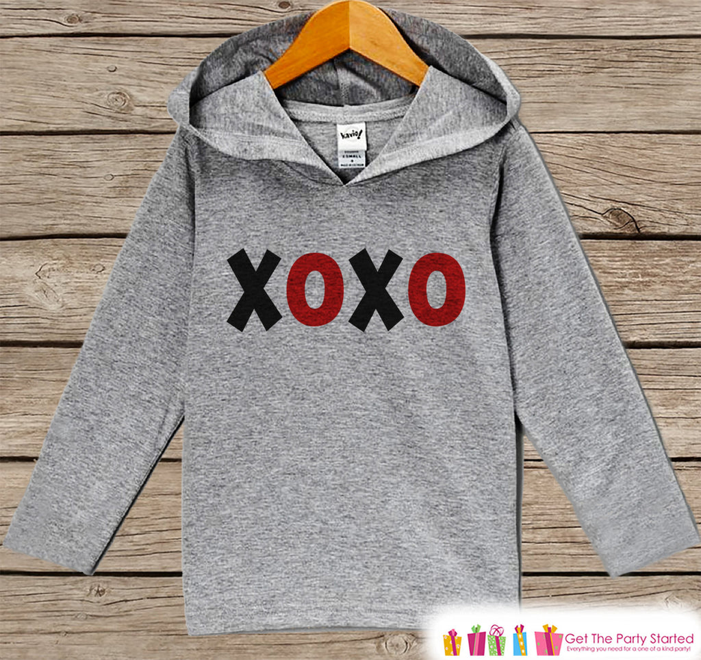 Boys Valentines Day Outfit - Kids Hoodie - Red XOXO Valentine Pullover - Baby Boys Valentine's Day Outfit - Kids, Baby, Toddler Hoodie - Get The Party Started