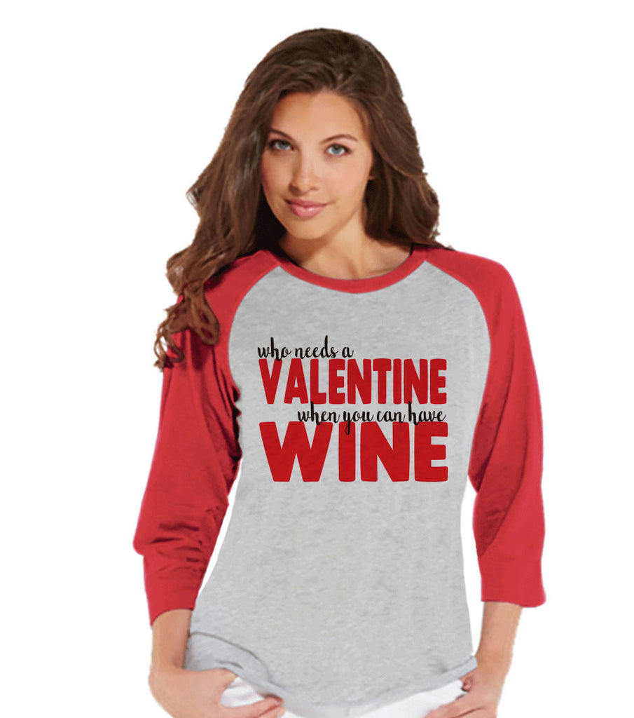 Ladies Valentine Shirt - Funny Wine Valentines Shirt - Womens Happy Valentines Day Shirt - Anti Valentines Gift for Her - Wine Lover - Red - Get The Party Started
