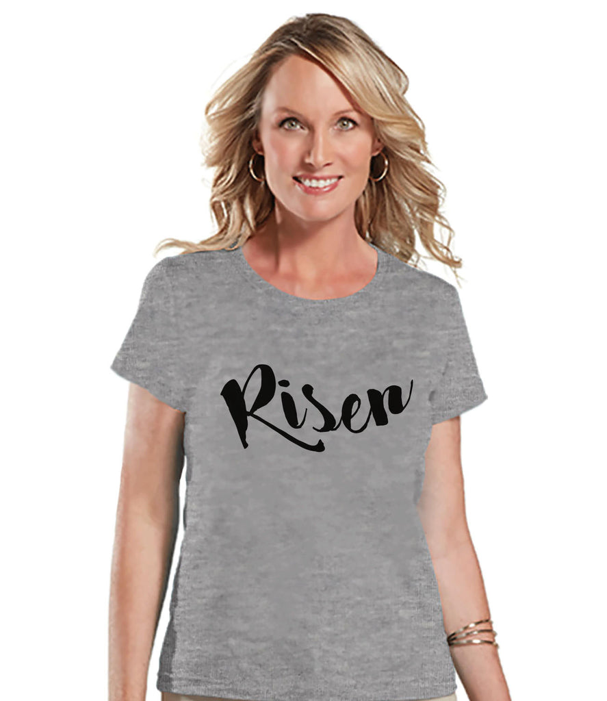 Women's Religious Shirt - Risen - Ladies Easter Shirt - Religious Christian Easter T-shirt - Gift for Her - Jesus is Risen - Grey T-shirt - Get The Party Started