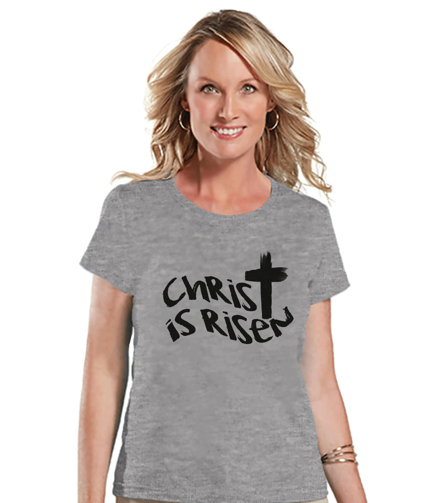 Women's Easter Shirt - Christ is Risen - Ladies Cross Easter Shirt - Religious Christian Easter T-shirt - Gift for Her - He is Risen - Grey - Get The Party Started